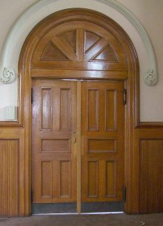 Quatersawn Oak Double Entry Doors with Fan Light Transom & Arched Doors | Olde Good Things