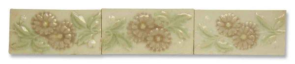 Antique Pink & Cream Floral Border Tile