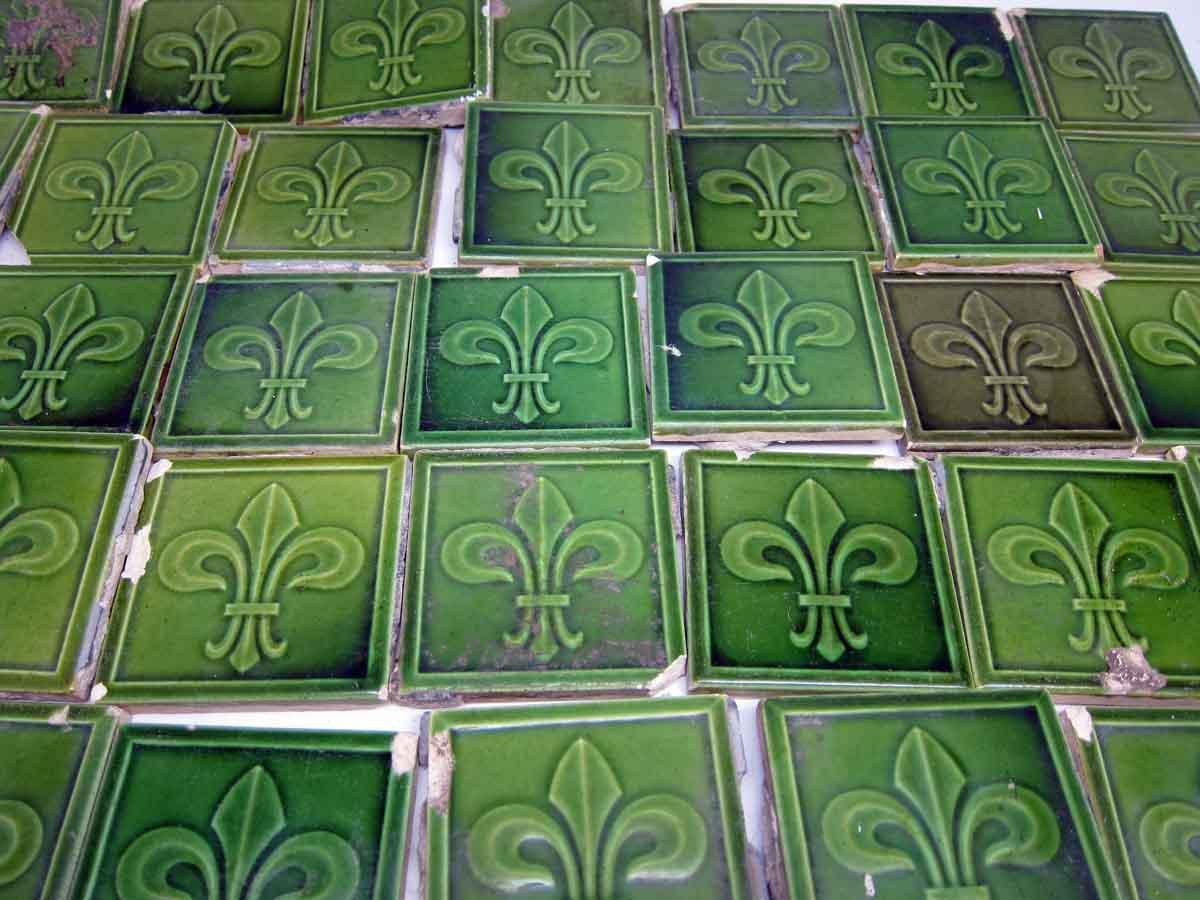 Tiny Green Fleur De Lis Tiles Olde Good Things