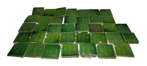 Tiny Green Fleur de Lis Tiles