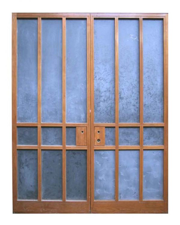Modern Nine Lite Double Doors with Textured Glass