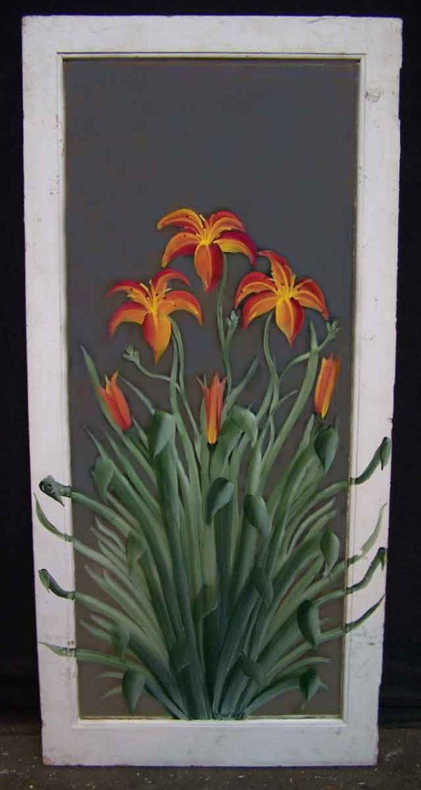 Painted Mirror with Orange Flower Design