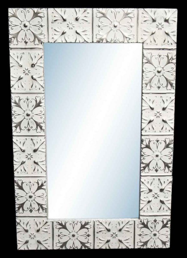 Hazleton Flower 4.5 in. Tin Framed Mirror