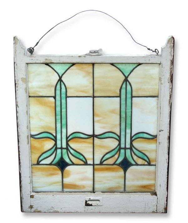 Stained Glass with Green Flower