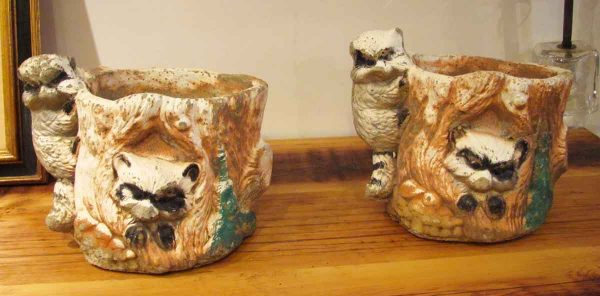 Pair of Whimsical Raccoon Planters