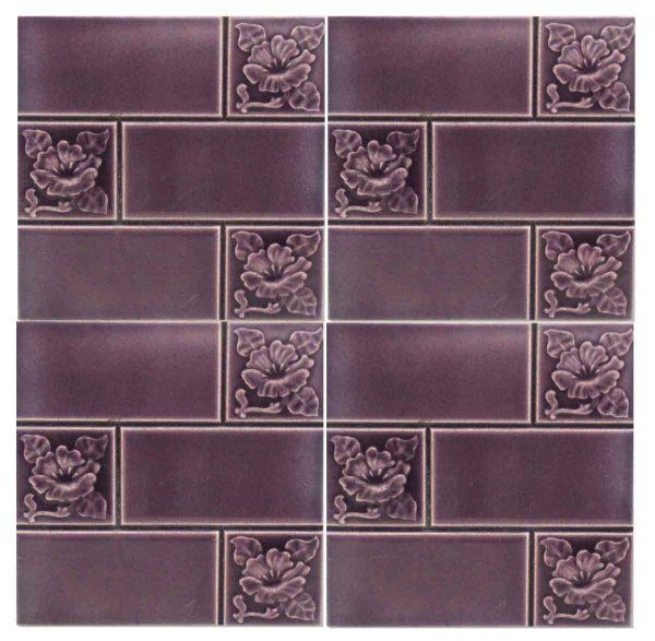 Lavender Tile with Divided Floral Motif