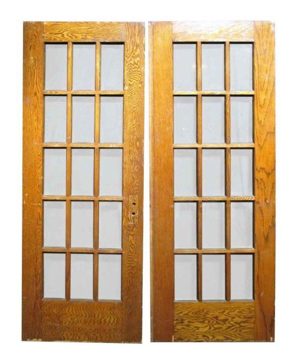 Pair of 15 Lite Oak Doors