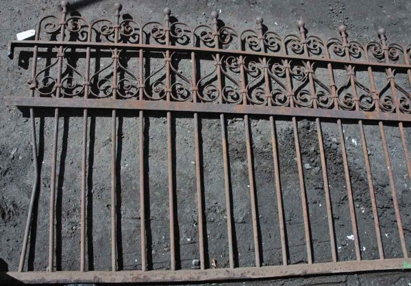 Antique Wrought Iron Fence Ornate 6 Ft. Section