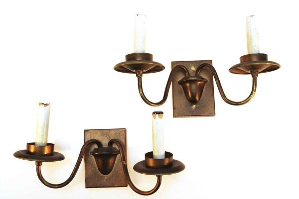 Pair of Two Arm Copper Sconces