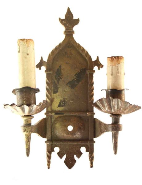 Spanish Colonial Iron Sconces with Dog Head Motif