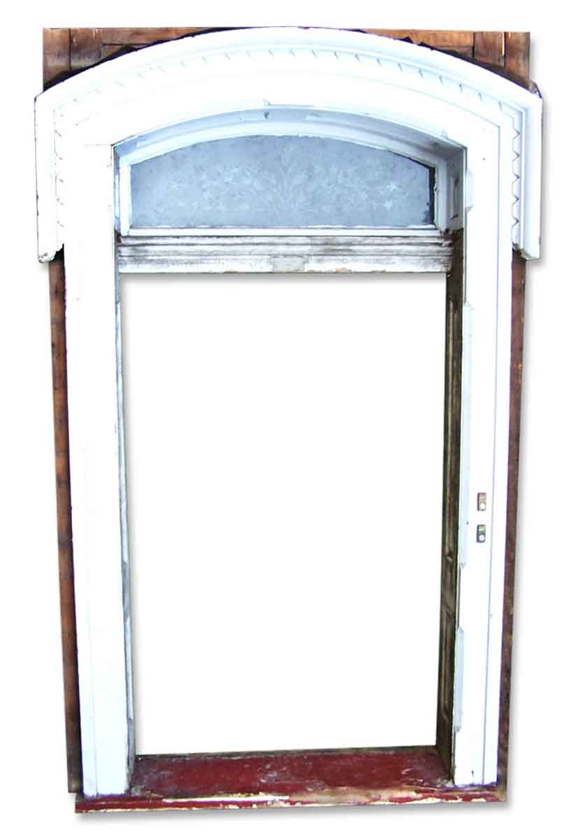 Hand Carved Chestnut Front Entry Door with Etched Glass