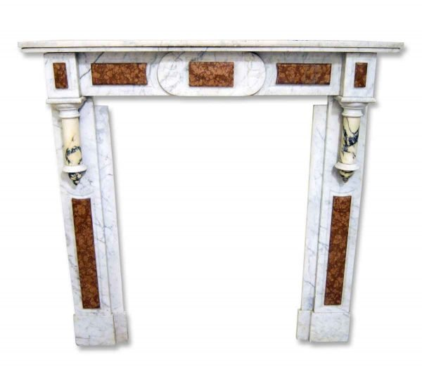 White French Marble Mantel with Breche Marble Detail