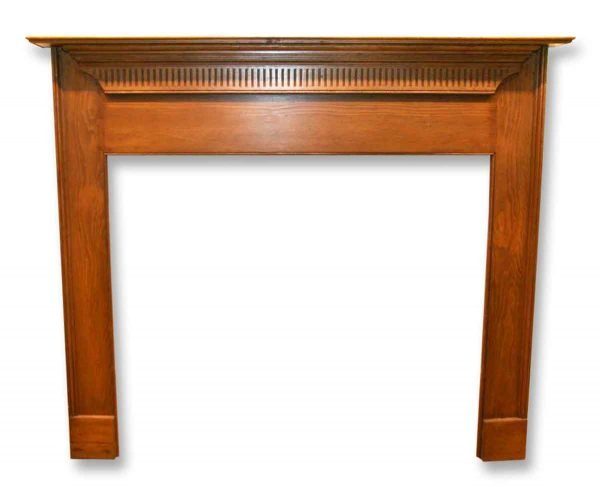 Smaller Antique Pine Wooden Mantel with Dentel Molding Detail