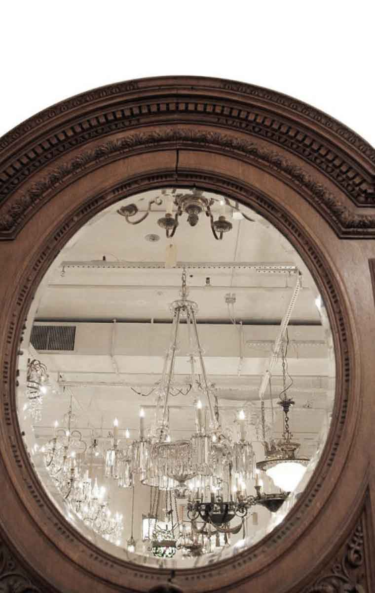 Large Antique Heavily Carved Over Mantel Mirror With Clock