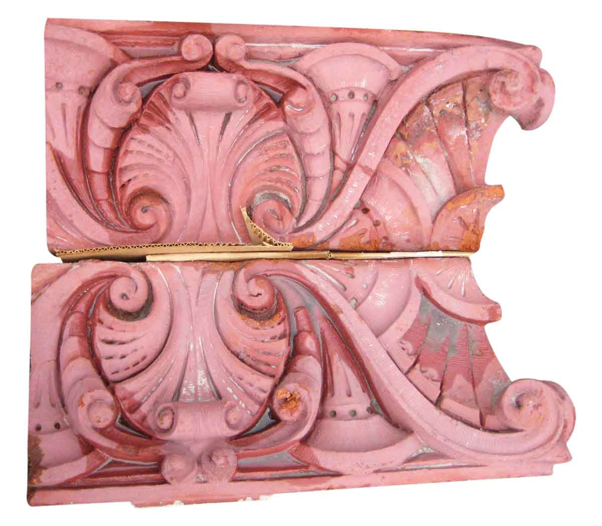 Red Terracotta Stone : Pair of antique red terra cotta capital stones olde good