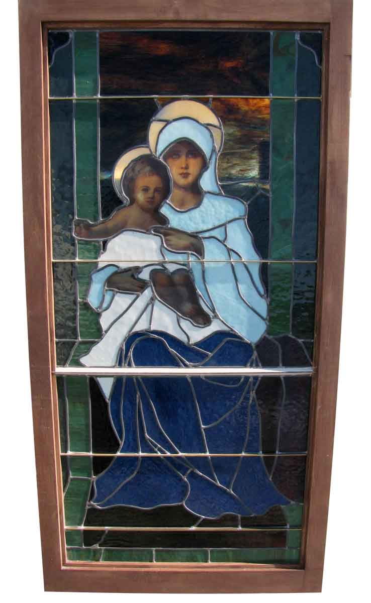 Stained Glass Window Of Mary With Jesus Olde Good Things