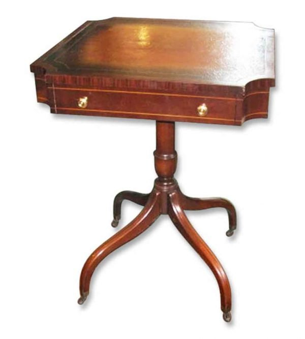 Leather Inset Side Table