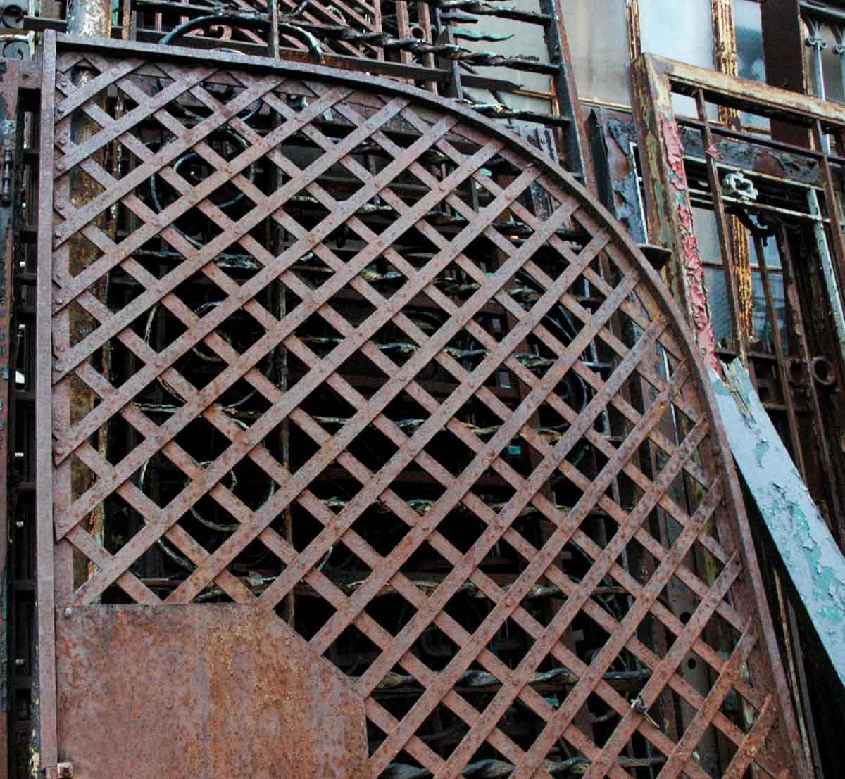 Antique Wrought Iron Gate Or Woven Lattice Garden Trellis