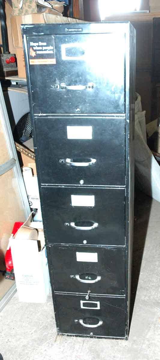 Vintage Metal File Cabinet with Art Deco Details