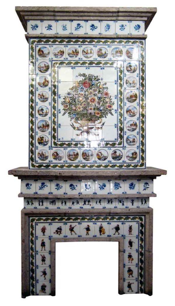 Dutch Tile Fireplace Mantel Made by Royal Tichelaar of Makkum