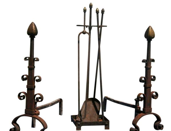 Andirons & Tool Set with Bronze Finials