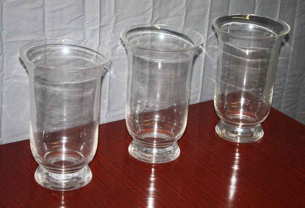 Set of Three Large Glass Vases