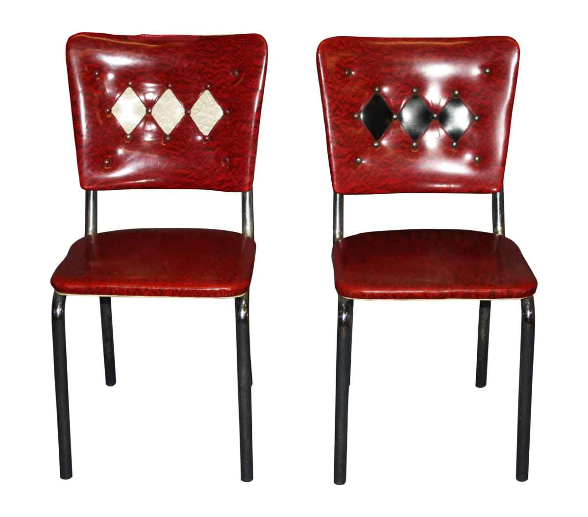 Pair of Red Vinyl 1950s Dining Chairs
