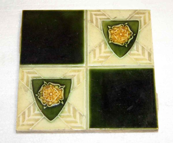Green & Yellow Shield Quadrant Tile