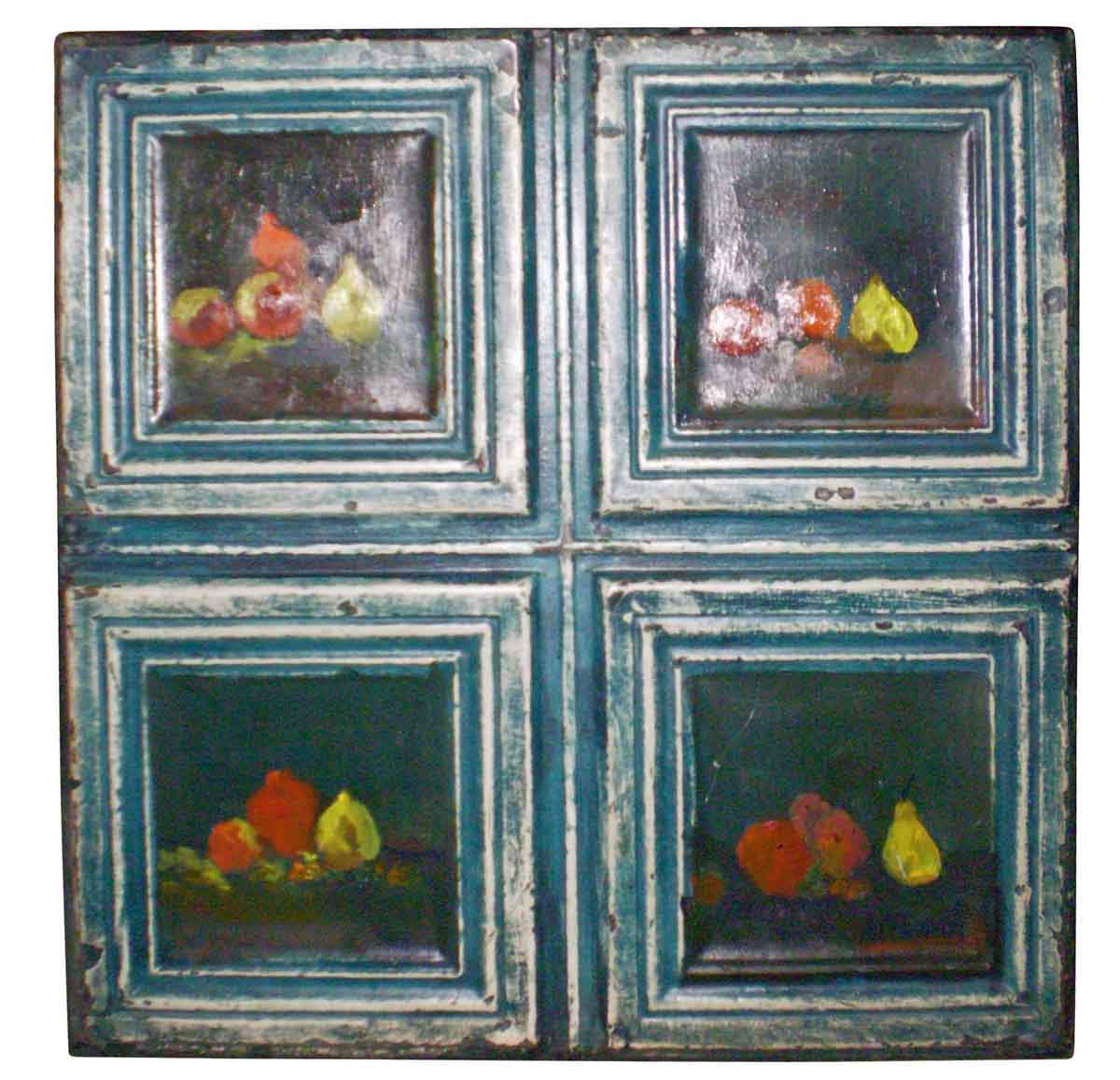 Antique Ceiling Tin Panel Hand Painted With Four Still