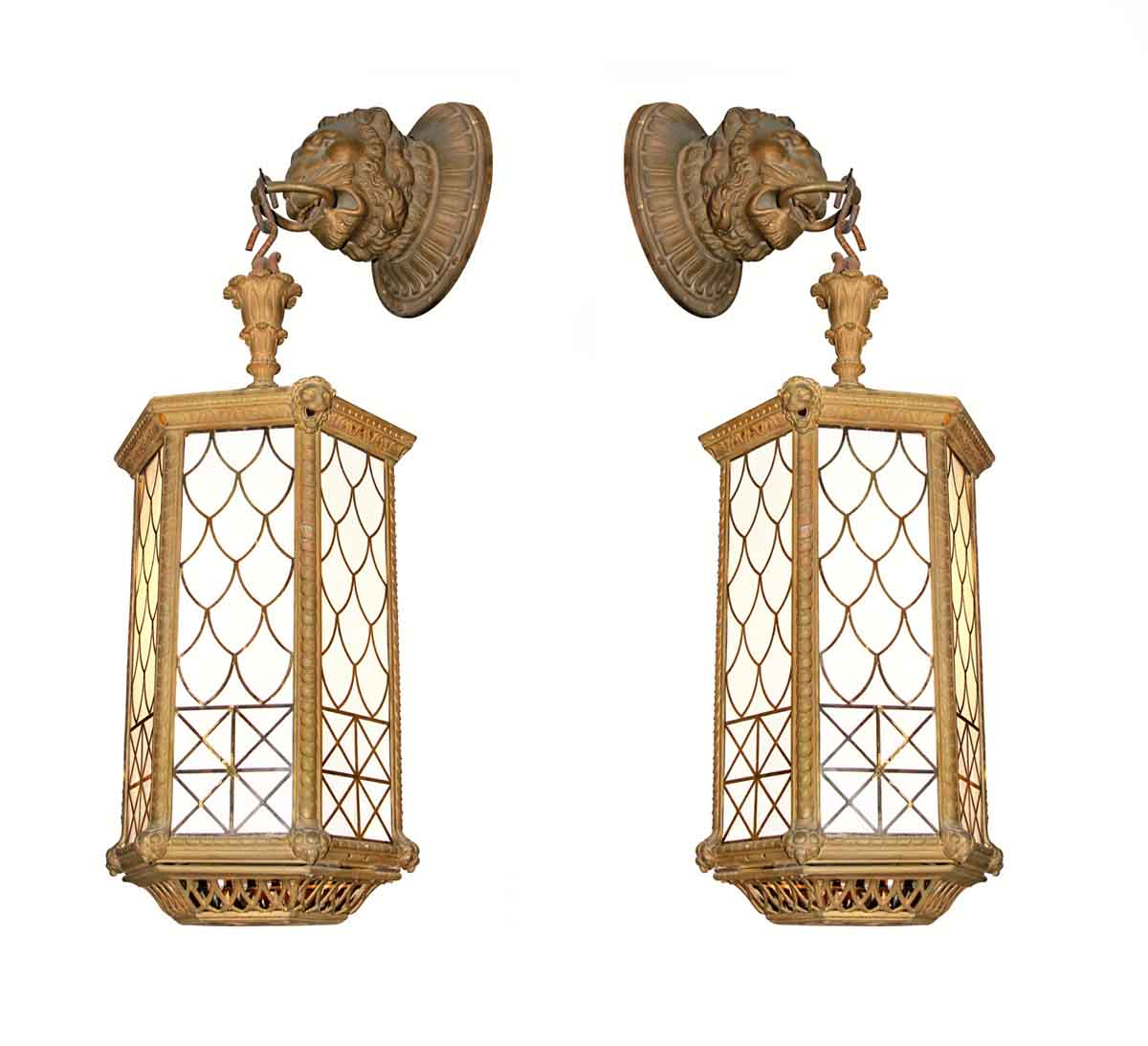 Bronze Lion Lantern Sconces from Blackie's Restaurant