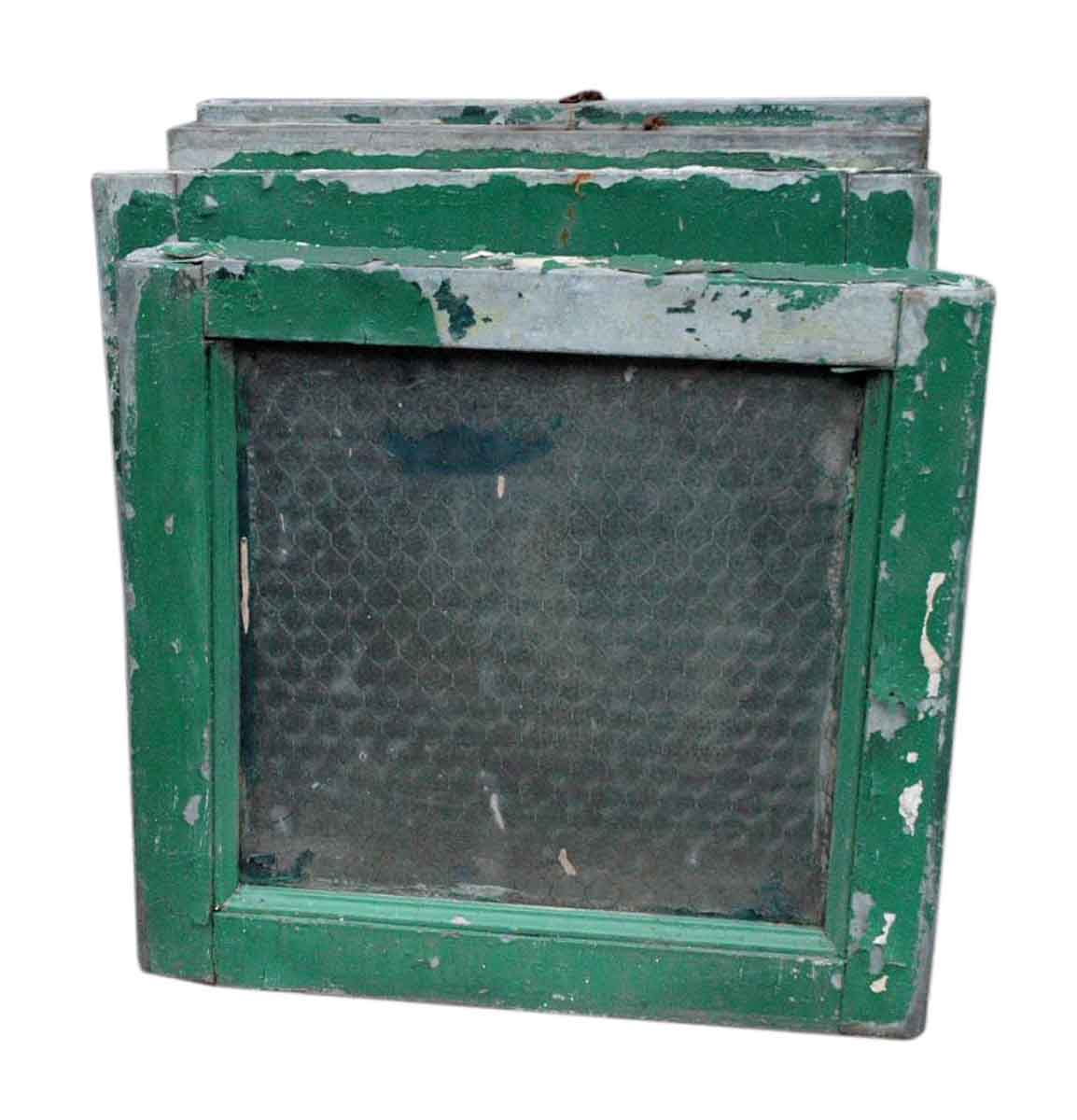 Petite Steel Frame Chicken Wire Glass Windows