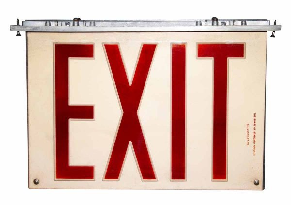 Vintage Plexi Glass & Aluminum Exit Signs