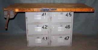 Vintage Industrial Butcher Block Table With Vise U0026 Locker Base