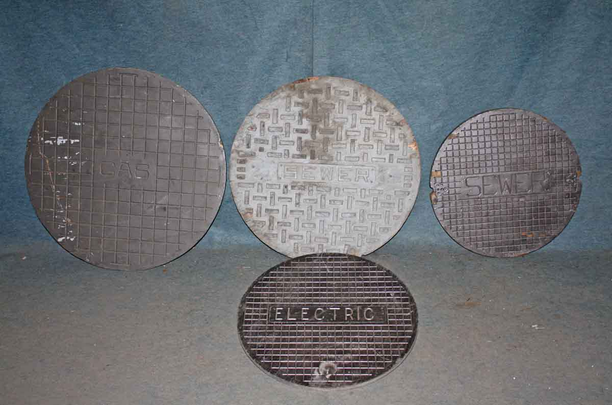 Four Wooden Antique Industrial Sewer & Gas Cover Molds