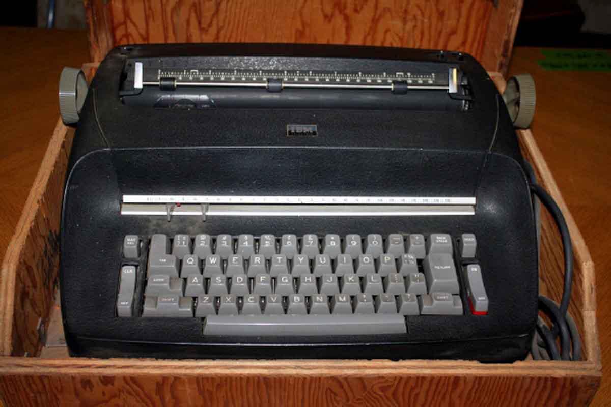 1960s Ibm Typewriter in Homemade Wooden Box