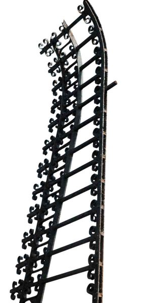 Ornate Low Sloping Wrought Iron Garden Rail
