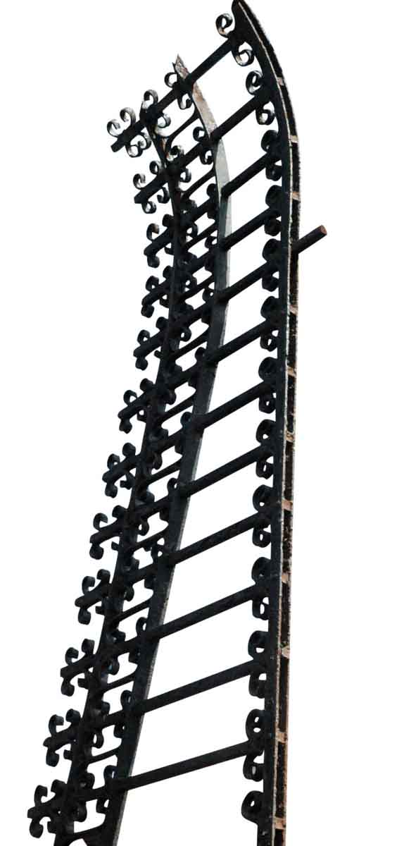Ornate Low Sloping Wrought Iron Garden Rail
