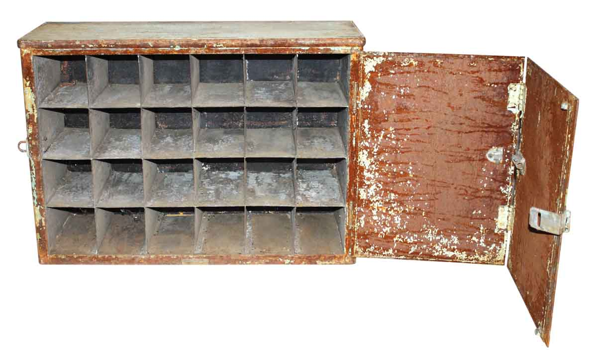 Industrial Metal Cabinet with 24 Pigeon Holes