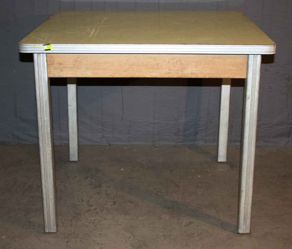 1940s Small Dining Table with Brushed Aluminum Legs
