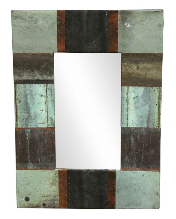 Patchwork Reclaimed Copper Framed Mirror