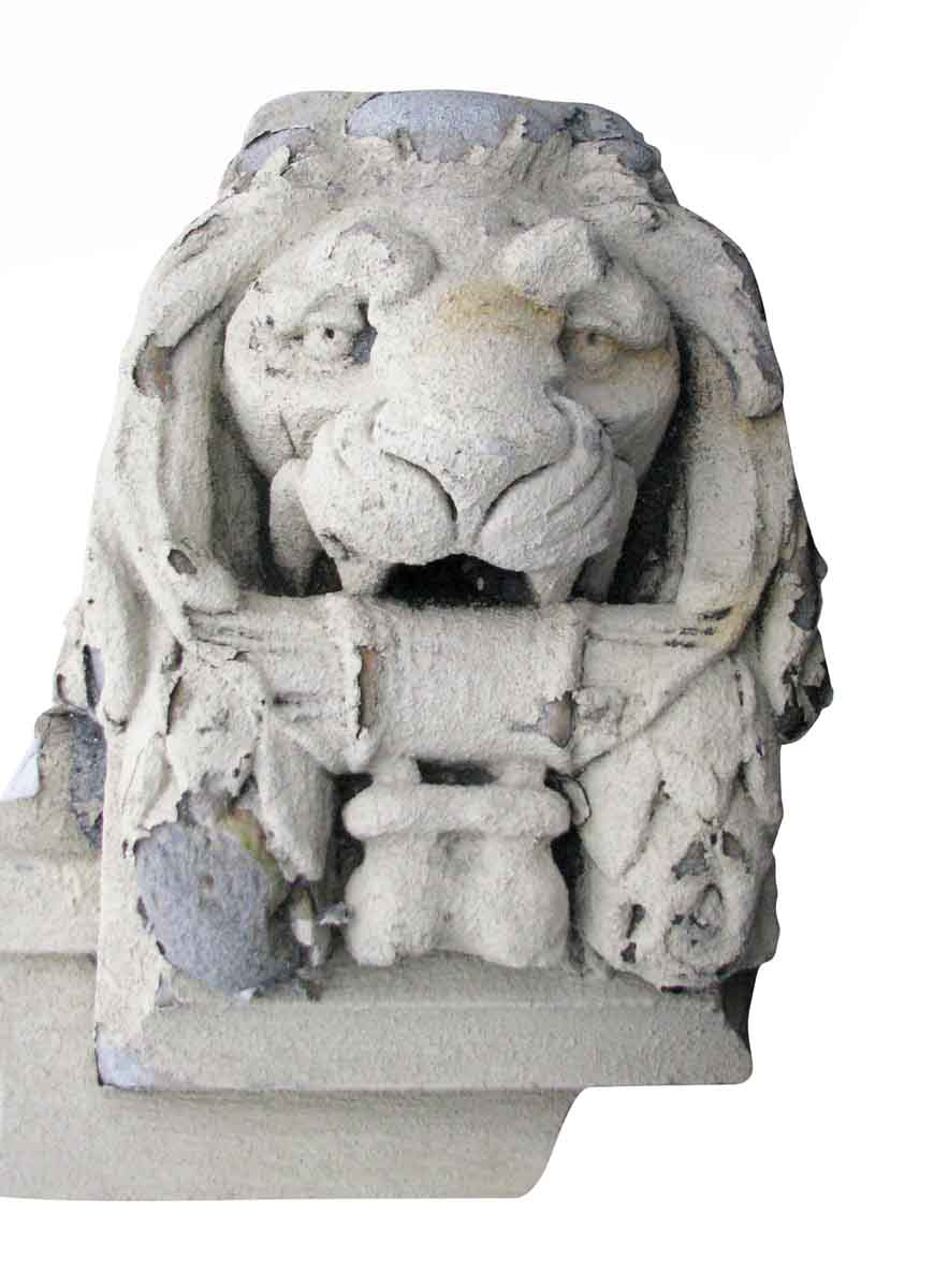 Marble Lion Head Pediment