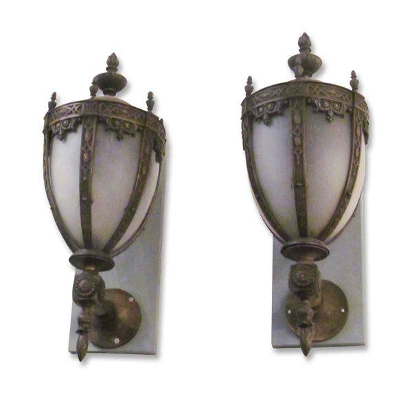 Pair of Bronze Exterior Sconces