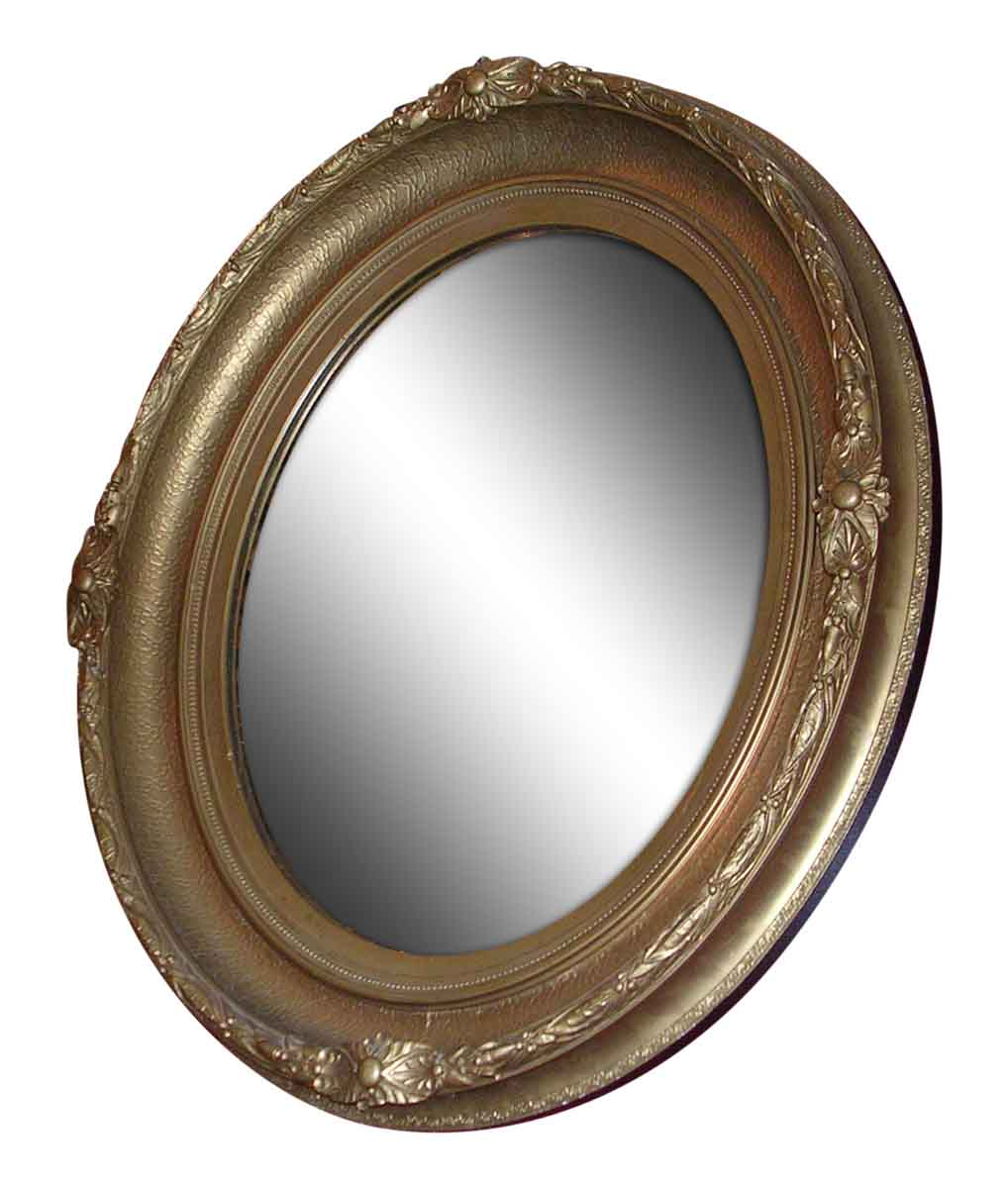 Oval Wooden Mirror Painted Gold