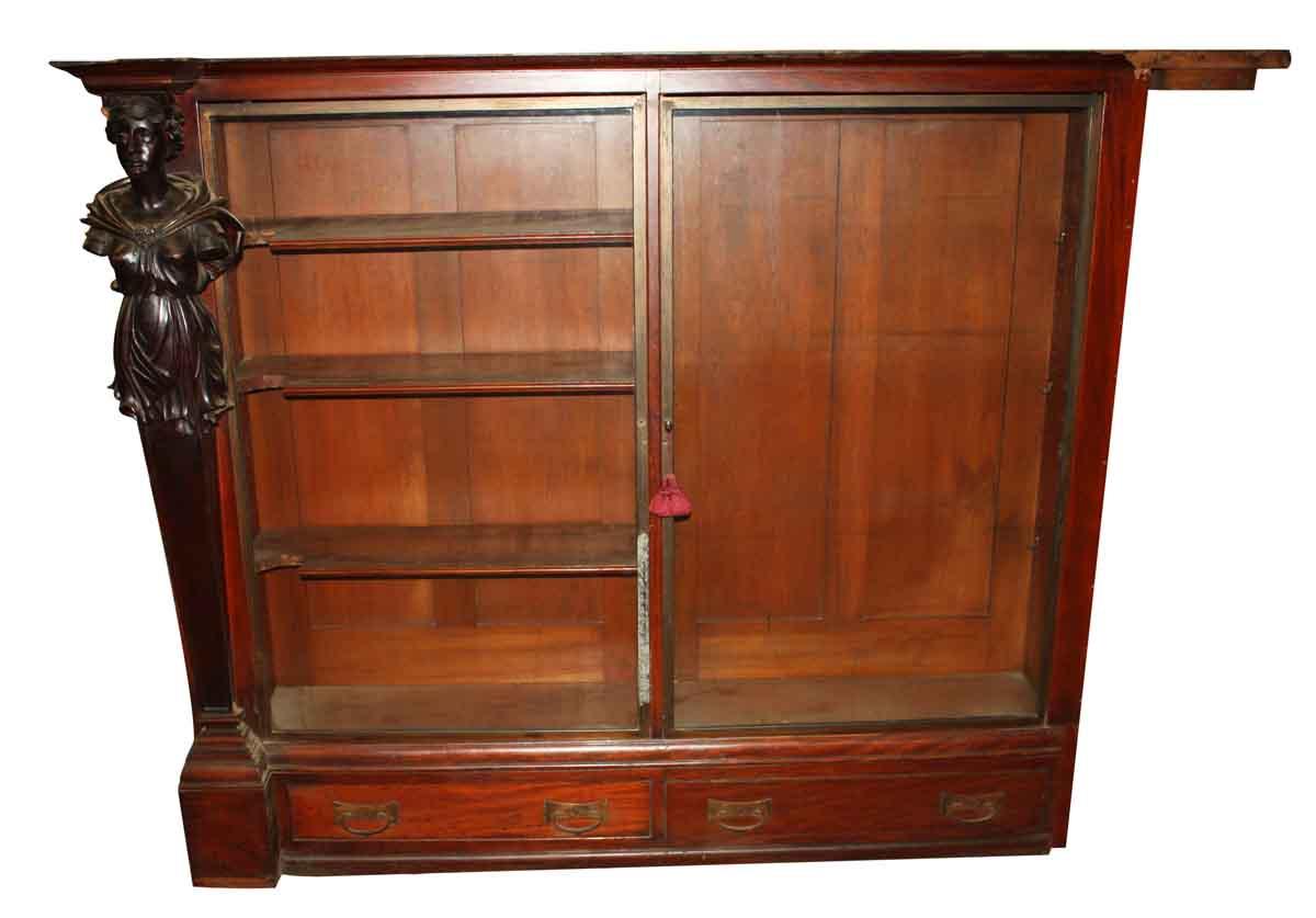 Figural Carved Mahogany Bookshelves