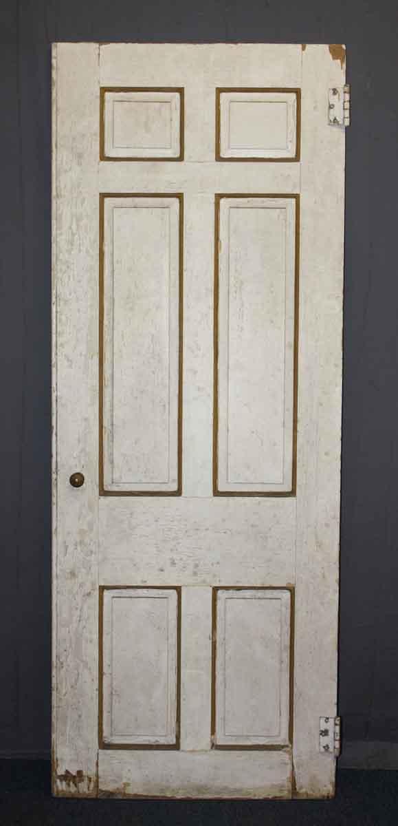 Antique Wood Door With Six Vertical Asymmetric Panels
