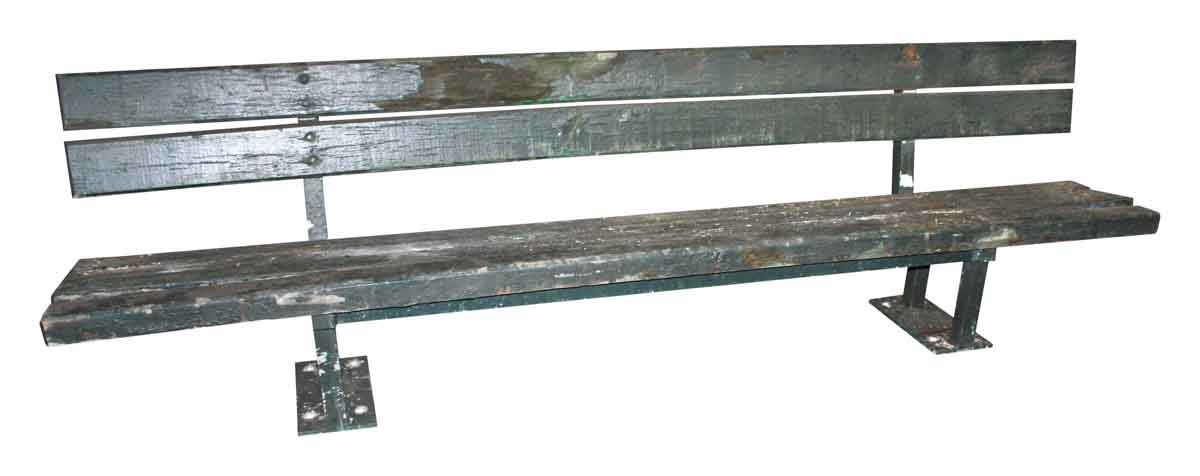 Antique Wooden Park Bench With Original Green Paint Antique Wooden Bench O92