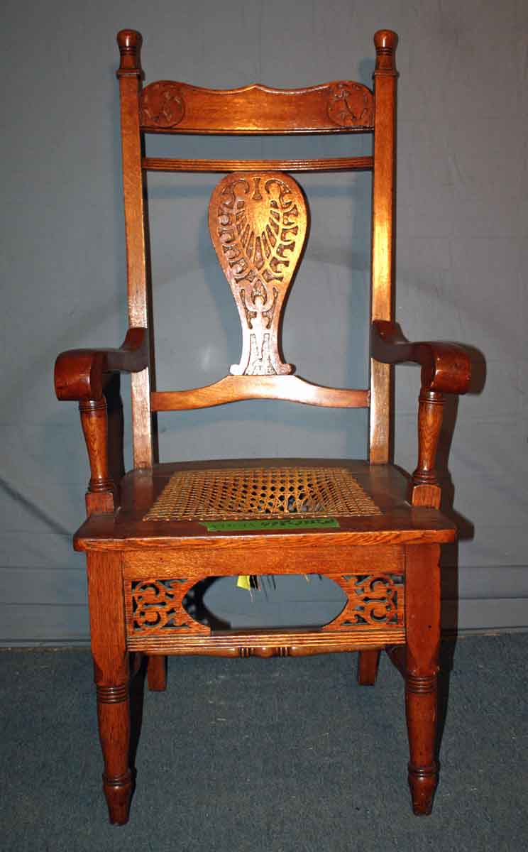 Carved Victorian Oak Chair with Caned Seat