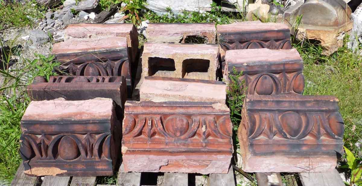Red Terracotta Stone : Egg dart red terra cotta stones olde good things