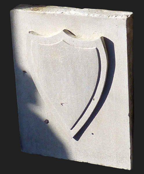 Architectural Limestone with Shield Motif