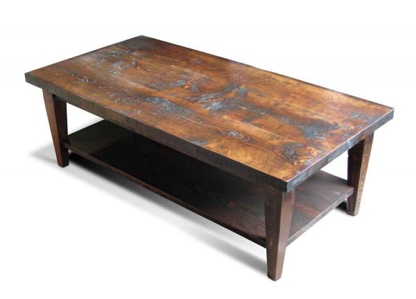 Reclaimed Pine Coffee Table with Bottom Shelf